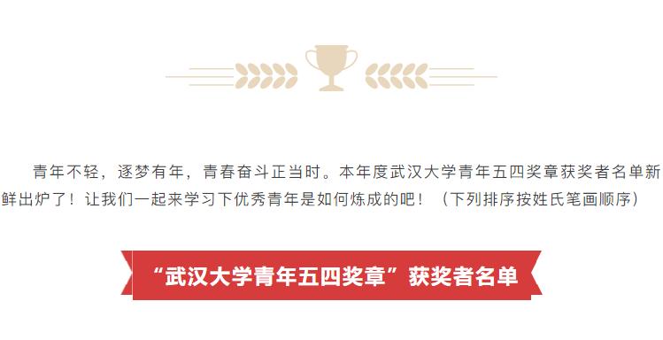 青年榜样 | 2021年武汉大学青年五四奖章获奖者揭晓